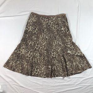 Liz Claiborne silk midi skirt leopard petite 8